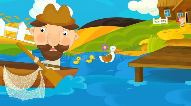 Kreskówki scena rybak pływa out dla pracy ilustracja wektor