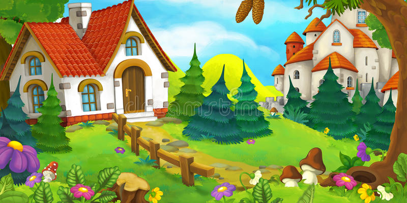 Kreskówki scena stary dom w lesie i duży kasztel w tle ilustracja wektor