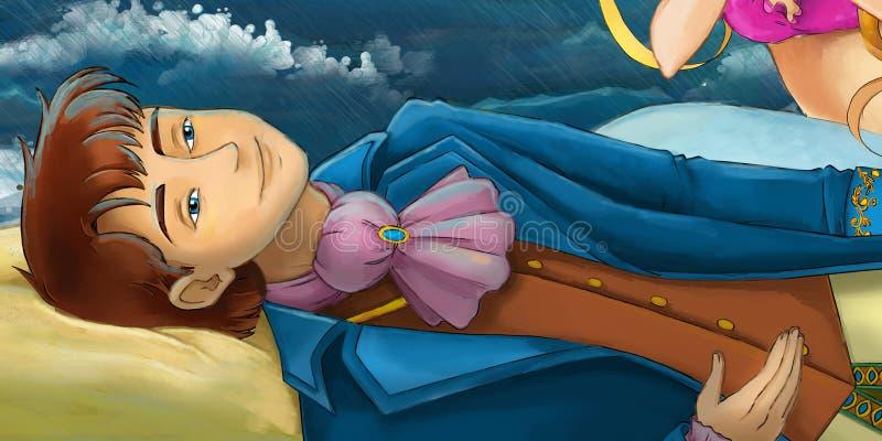 Kreskówki scena - syrenka ratuje książe ilustracja wektor