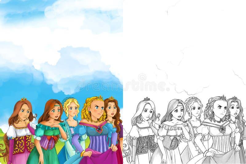 Kreskówki scena wiele młode dziewczyny w tradycyjnej odzieży piękne manga dziewczyny - średniowieczni czasy - ilustracji