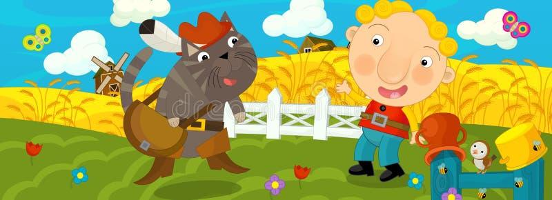 Download Kreskówki Scena Z Chłopiec I Kotem Ilustracji - Ilustracja złożonej z rolnik, szczęśliwy: 53775451
