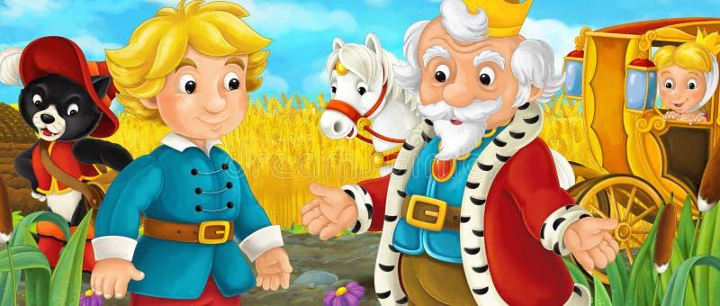 Kreskówki scena z królewskim pary jeżdżeniem przez paśników ilustracji