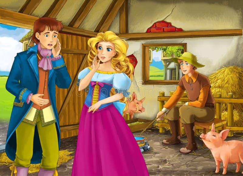 Kreskówki scena z princess, książe, królewiątko i rolnika ranczer w stajnia chlewie royalty ilustracja