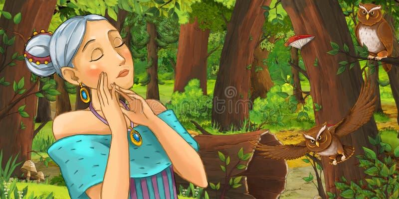 Kreskówki scena z szczęśliwym młodej dziewczyny princess w lasowej spotyka parze sów latać royalty ilustracja