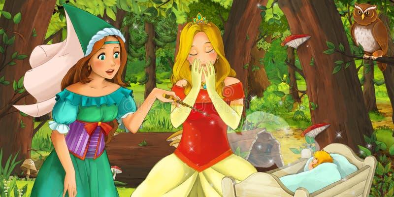Kreskówki scena z szczęśliwym młodej dziewczyny princess w lasowej spotyka parze sów latać ilustracji