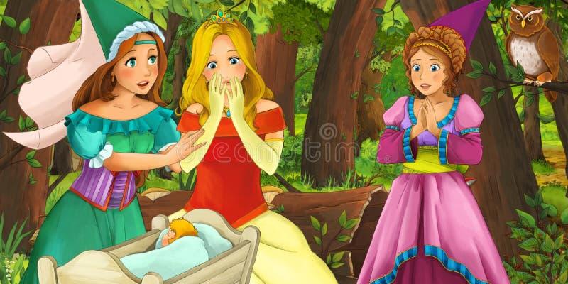 Kreskówki scena z szczęśliwym młodej dziewczyny princess w lasowej spotyka parze sów latać ilustracja wektor