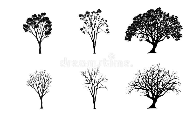 kreskówki serc biegunowy setu wektor drzewne sylwetki na białym tle ilustracja ilustracja wektor