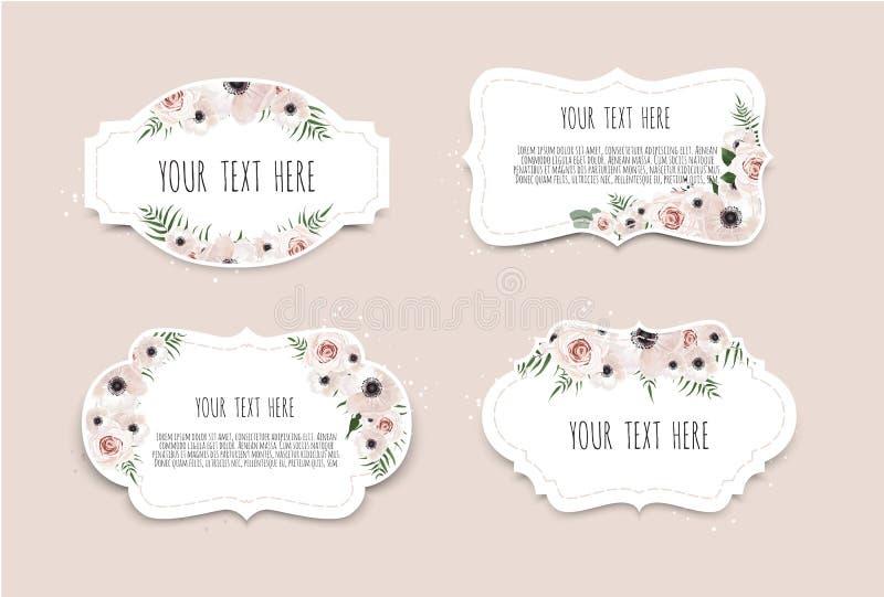 kreskówki serc biegunowy setu wektor Rocznik etykietki z kwiatami Ramowa granica z kopii przestrzenią ilustracja wektor