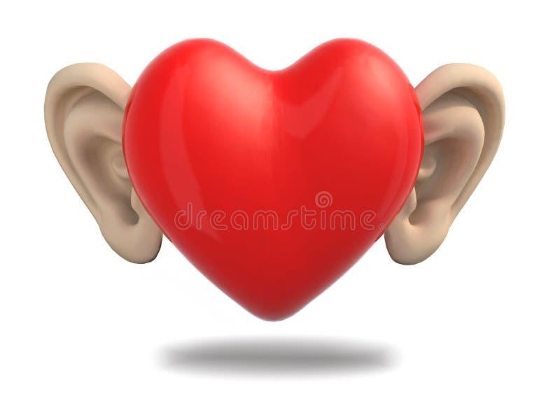 Kreskówki serce z ucho ilustracja wektor