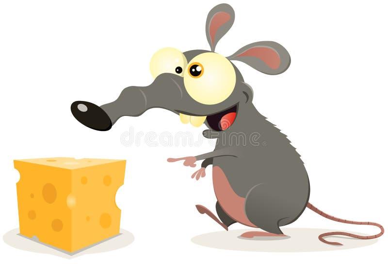 kreskówki serowy kawałka szczur royalty ilustracja
