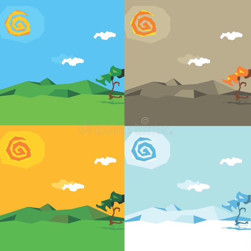 kreskówki sezonów wektor ilustracja wektor