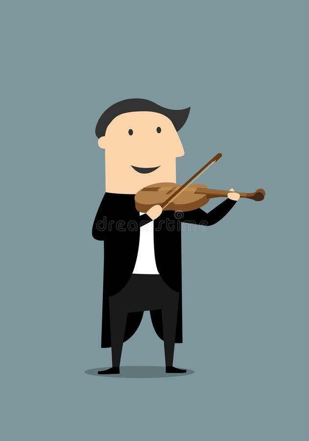 Kreskówki skrzypaczka w czarnym tailcoat royalty ilustracja