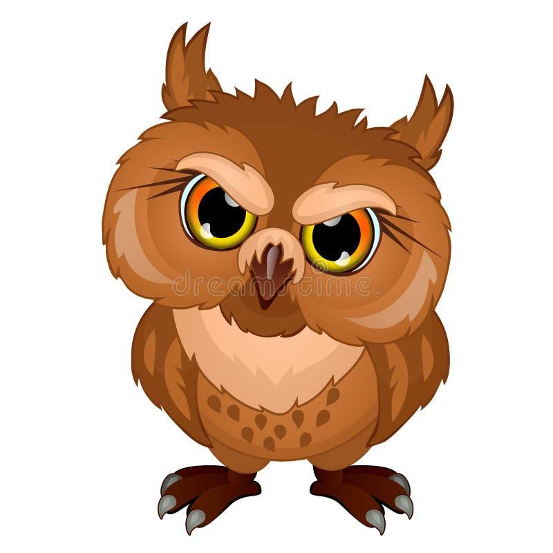 Kreskówki sowa w złym nastroju, emocjonalny ptasi charakter royalty ilustracja