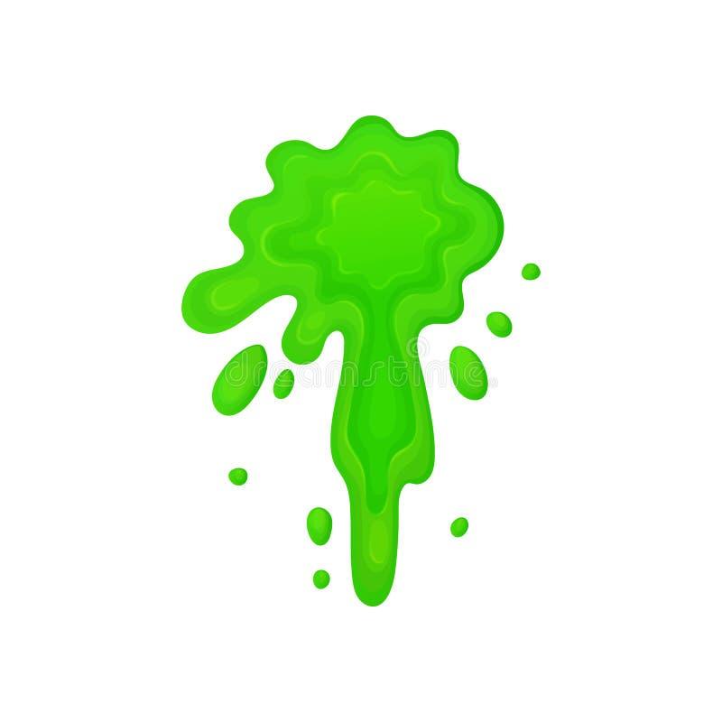 Kreskówki splatter zieleń szlamowy ciecz z przybłąkanymi kroplami royalty ilustracja