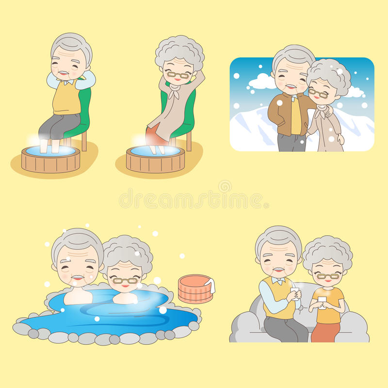 Kreskówki stara para dostaje ciepłą ilustracja wektor