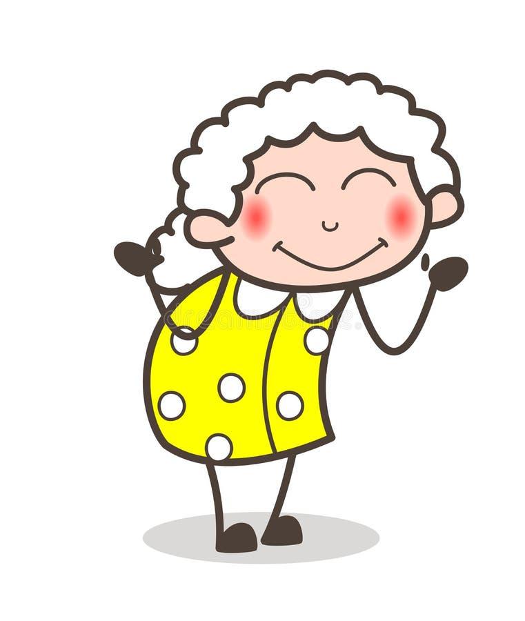 Kreskówki Starej damy Spłonionej twarzy Wyrażeniowa Wektorowa ilustracja ilustracji