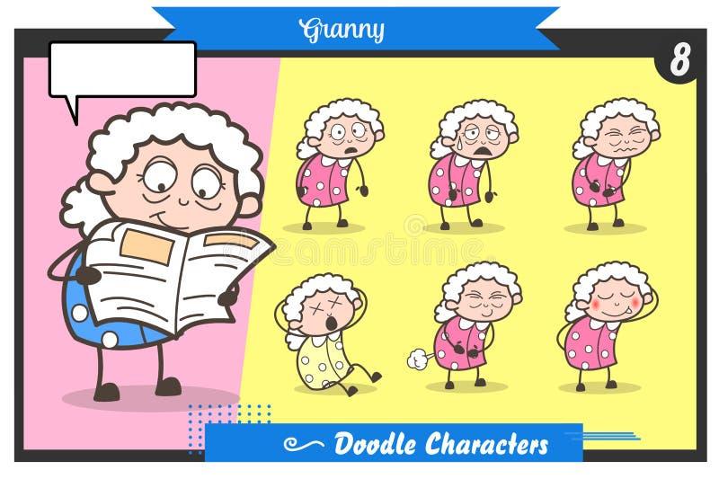 Kreskówki Starej damy twarzy poz i wyrażeń wektoru set royalty ilustracja