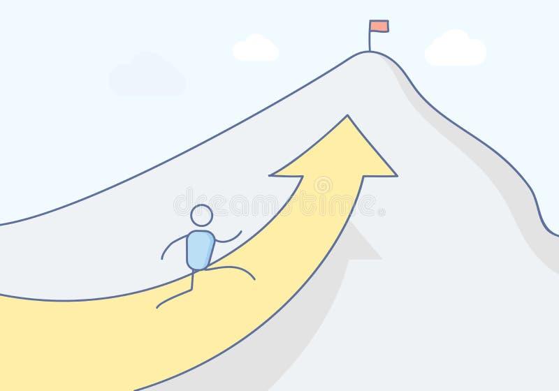 Kreskówki stickman charakter wspina się górę w kierunku swój szczytu dokąd flaga stoi symbolizować sukces ilustracji