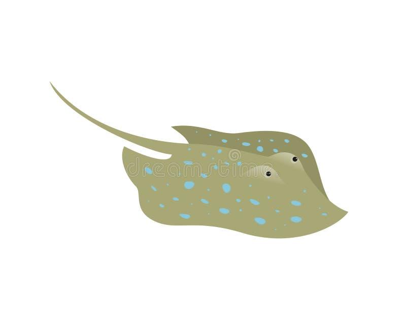 Kreskówki stingray ryba na białym tle royalty ilustracja