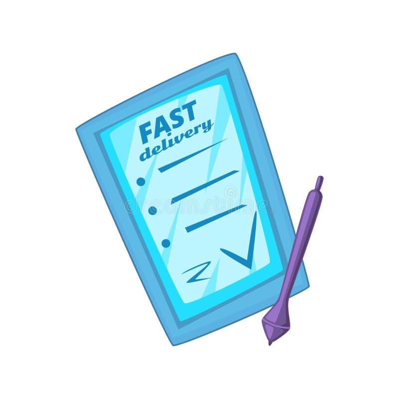 Kreskówki stylowa wektorowa ilustracja pastylka komputer osobisty dla doręczeniowej usługa ilustracja wektor