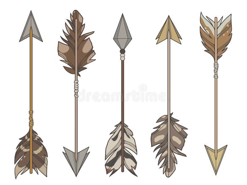 Kreskówki stylowy ilustracyjny wektorowy ustawiający różne cel strzały dekorował z naturalnymi ptasimi piórkami royalty ilustracja