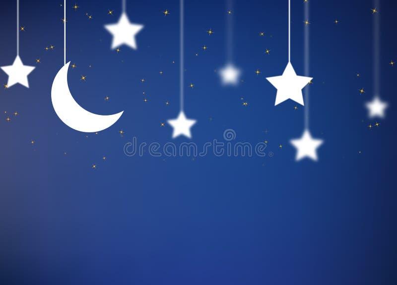 Kreskówki stylowy nocne niebo ilustracja wektor