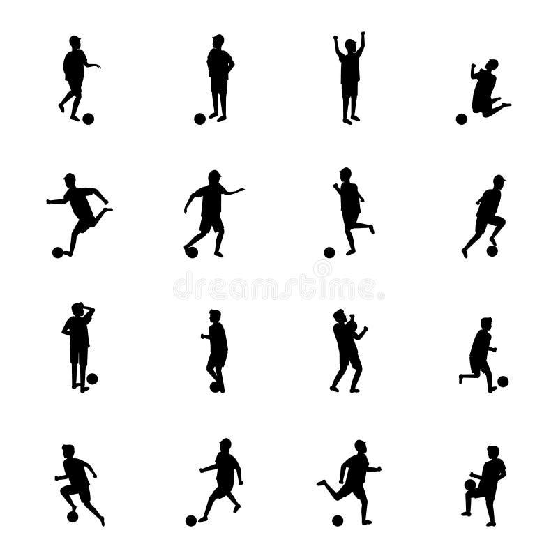 Kreskówki sylwetki czerni charakterów gracz piłki nożnej set wektor ilustracja wektor