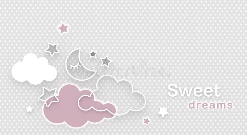 Kreskówki sypialna księżyc, chmurnieje i gra główna rolę w nocnym niebie Życzyć dobranoc i słodkich sen powitanie karciana odbitk ilustracji