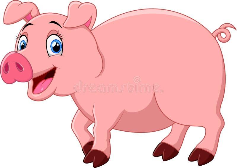 kreskówki szczęśliwa świnia royalty ilustracja