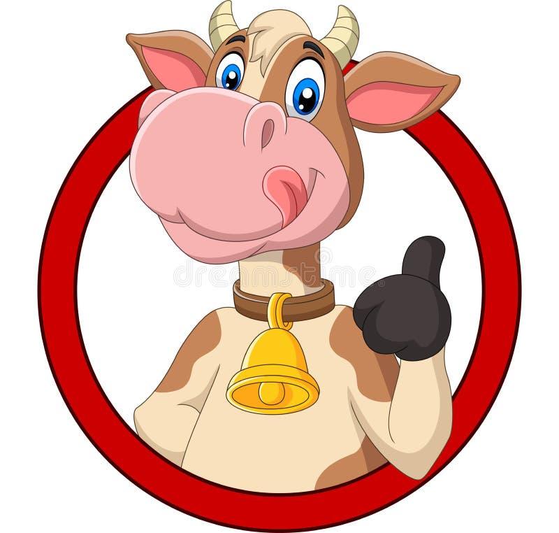 Kreskówki szczęśliwa krowa daje kciukowi w górę royalty ilustracja