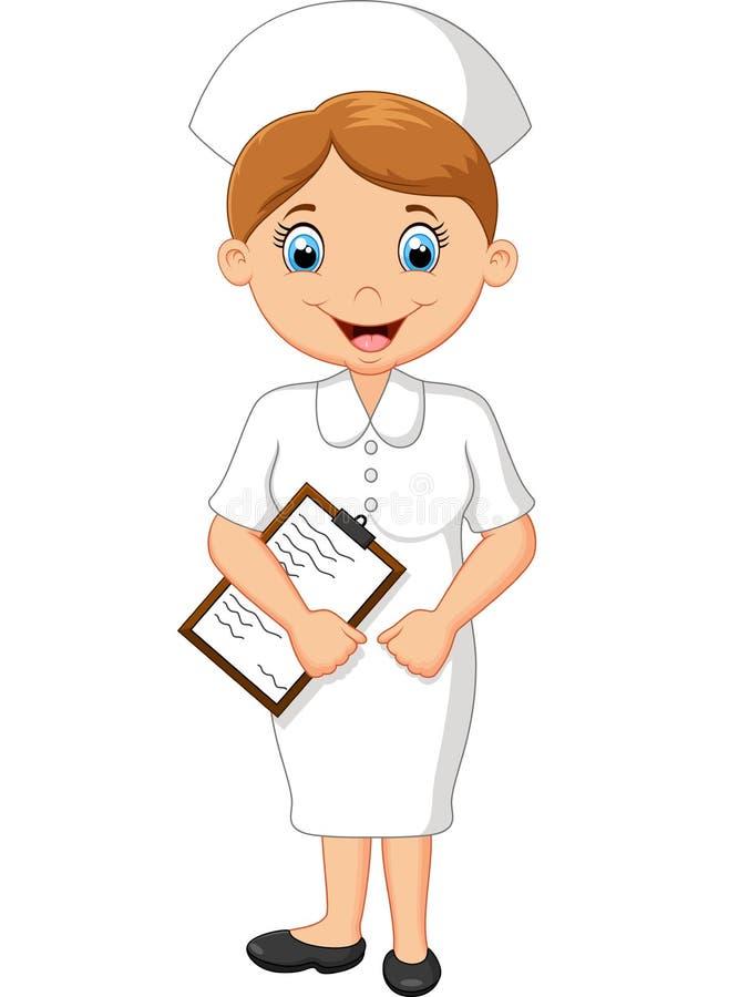 Kreskówki szczęśliwa pielęgniarka w bielu mundurze royalty ilustracja