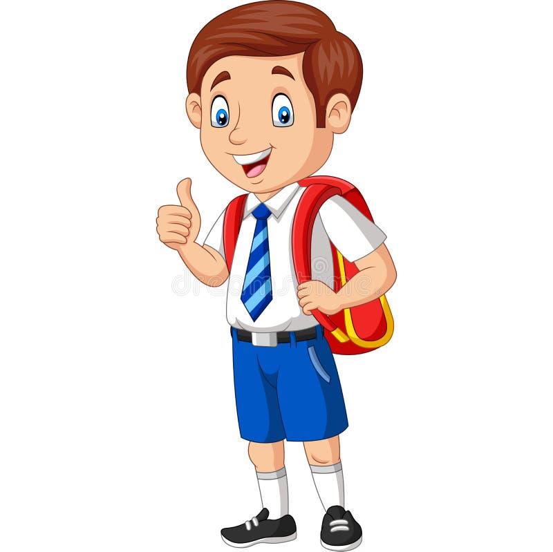 Kreskówki szczęśliwa szkolna chłopiec w mundurze daje kciukowi w górę royalty ilustracja
