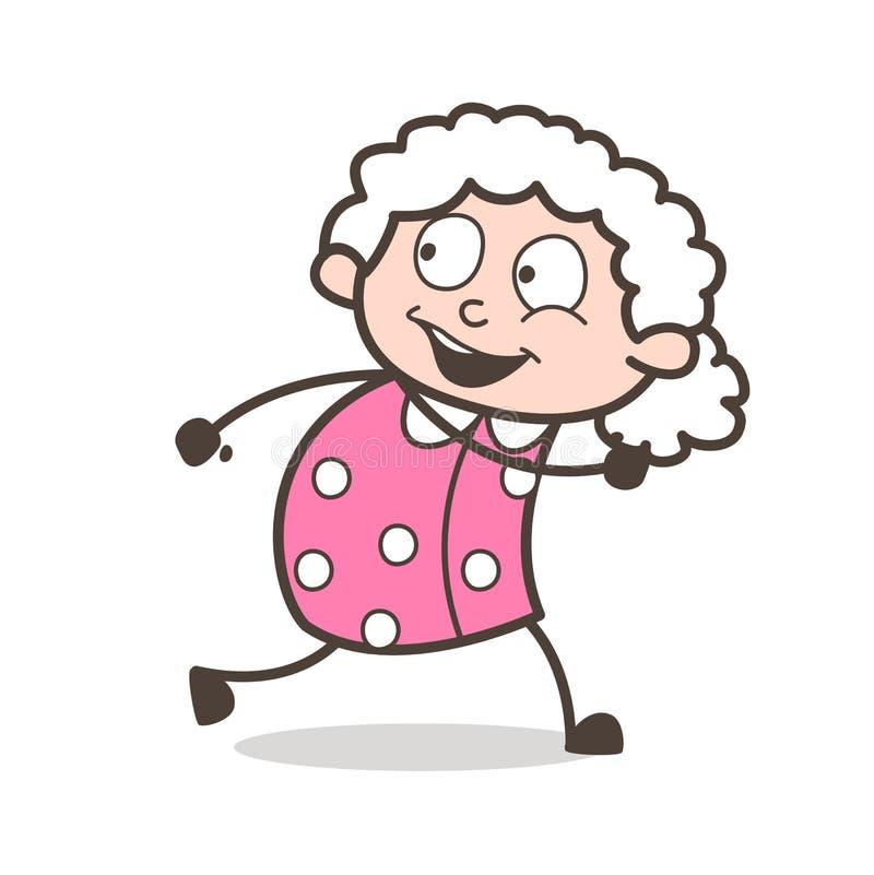Kreskówki Szczęśliwej starej kobiety Działający Wektorowy pojęcie ilustracja wektor