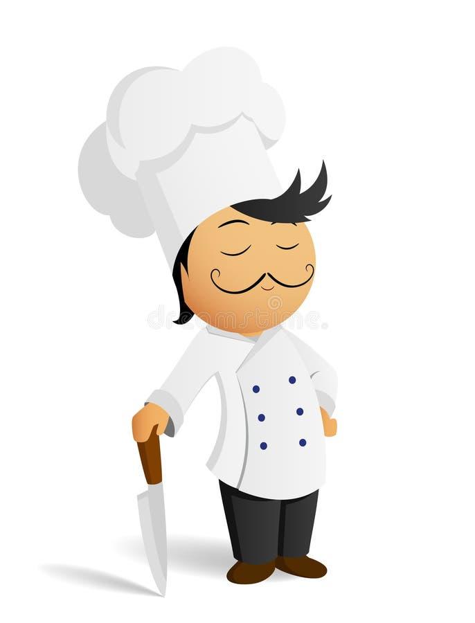 kreskówki szef kuchni kucharza kapeluszowy nożowy biel ilustracji