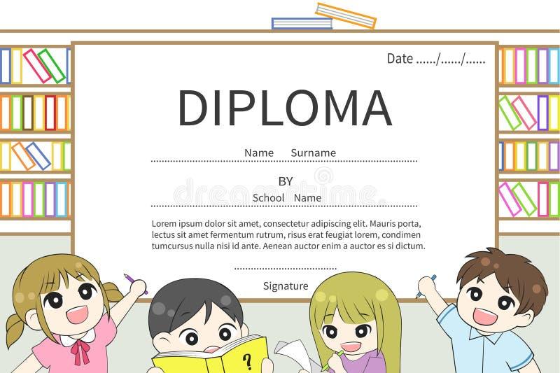 Kreskówki szkoły podstawowej dzieci dyplomu świadectwa wektor royalty ilustracja