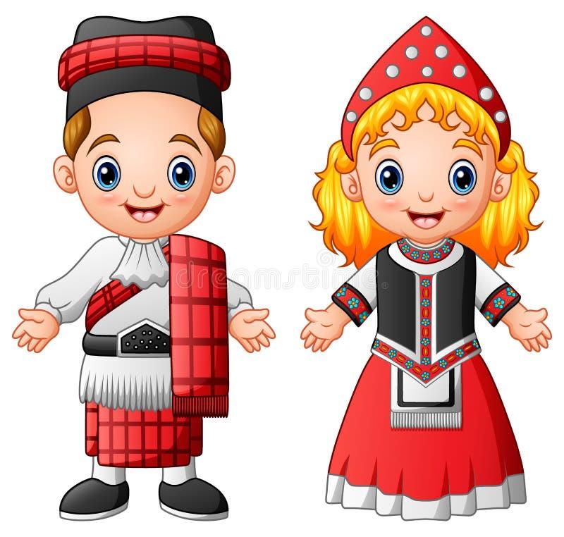 Kreskówki szkocka para jest ubranym tradycyjnych kostiumy royalty ilustracja