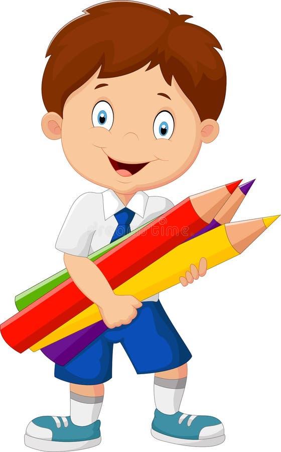 Kreskówki szkolna chłopiec trzyma kolorowych ołówki ilustracja wektor