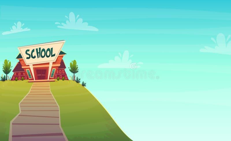 Kreskówki szkolnego tła tapetowy miejsce dla teksta znaka śmiesznego rozochoconego karcianego plakata również zwrócić corel ilust royalty ilustracja