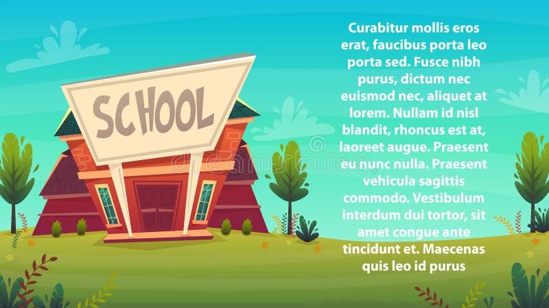 Kreskówki szkolnego tła tapetowy miejsce dla teksta znaka śmiesznego rozochoconego karcianego plakata również zwrócić corel ilust ilustracja wektor