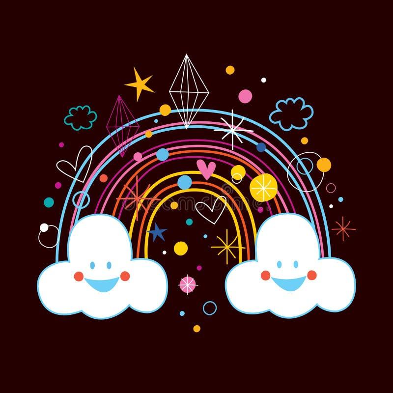 Kreskówki tęczy chmury royalty ilustracja