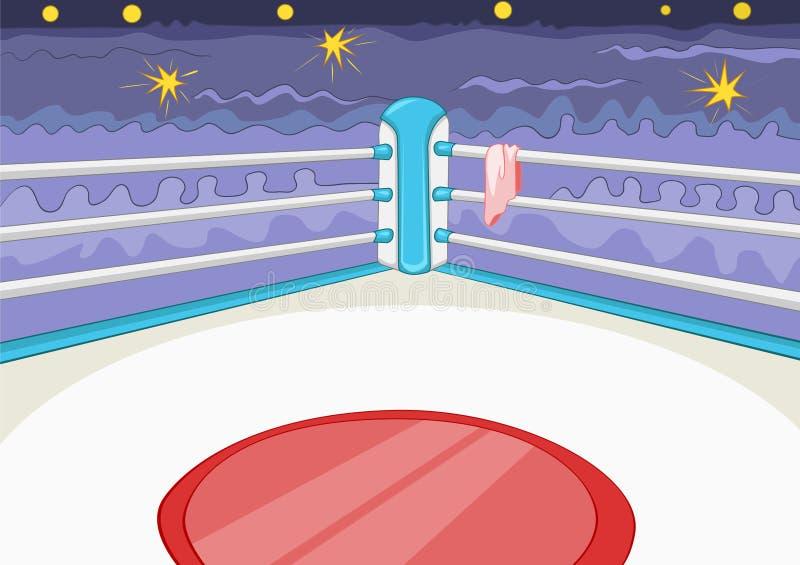 Kreskówki tło bokserski pierścionek ilustracja wektor
