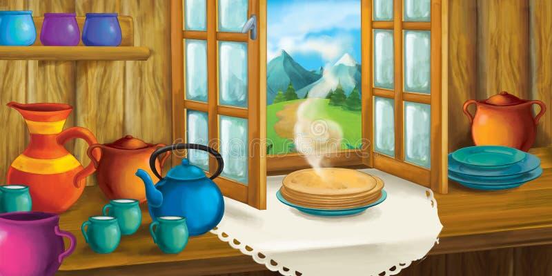 Kreskówki tło dla bajki kuchnia - wnętrze staromodny dom - ilustracja wektor