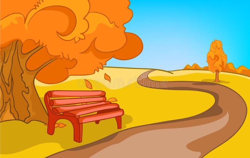 Kreskówki tło jesień krajobraz ilustracji