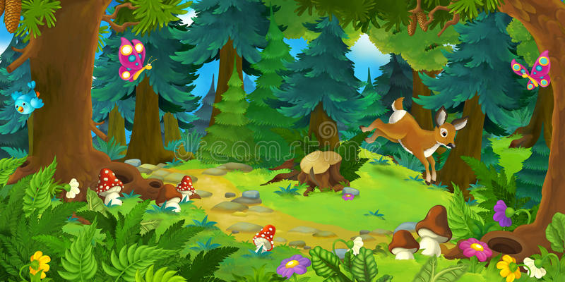 Kreskówki tło las ilustracji