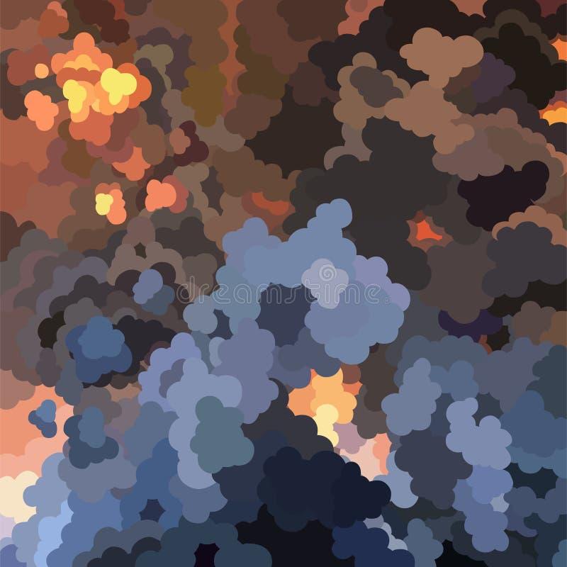 Kreskówki tło ogromny ogień z chmura dymu royalty ilustracja