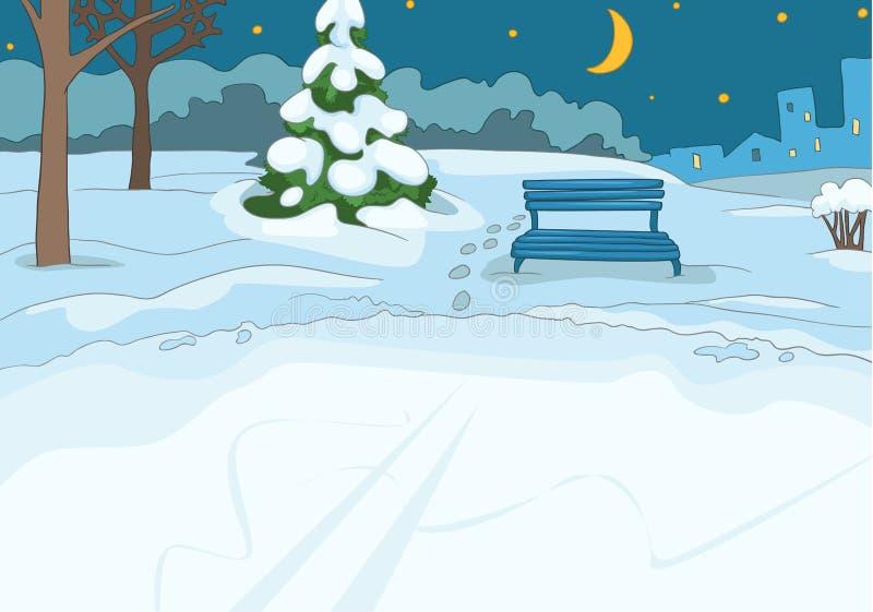 Kreskówki tło plenerowy łyżwiarski lodowisko ilustracji