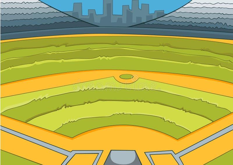 Kreskówki tło stadion baseballowy royalty ilustracja