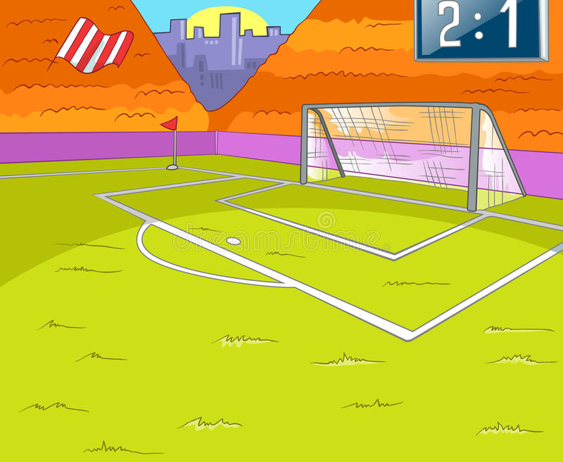Kreskówki tło stadium piłkarski ilustracji