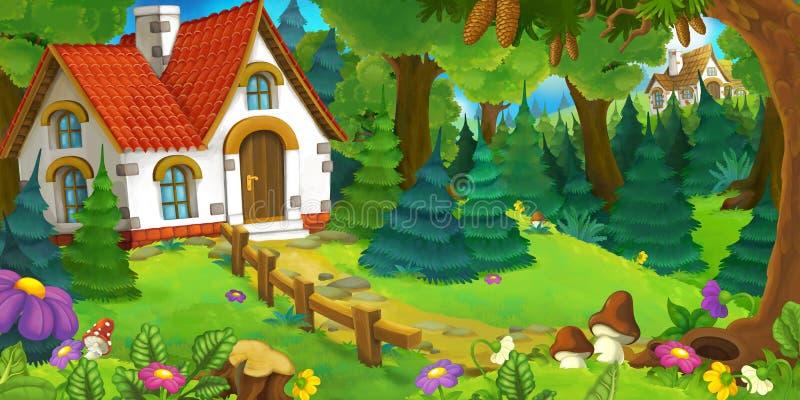 Kreskówki tło stary dom w lesie royalty ilustracja