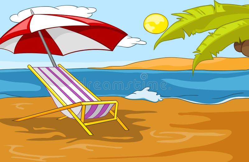 Kreskówki tło tropikalna plaża i morze ilustracji